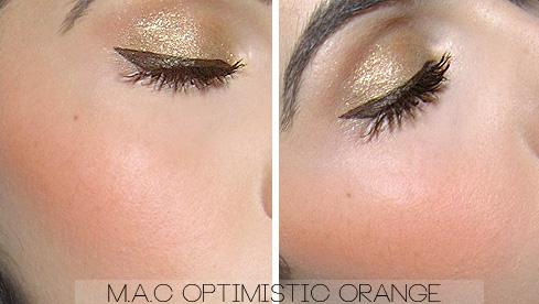 mac optimistic orange blush swatches